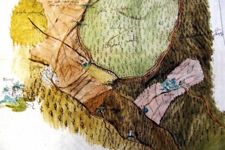 Zřícenina hradu Tepenec na výřezu mapy z roku 1724